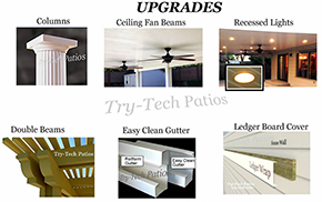 Alumawood upgrades and accessories, Alumawod columns, ceiling fans, lights, double beams, gutters and ledger board wrap.