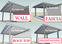 Patio Cover attachment, wall, fascia board, roof top and freestanding.