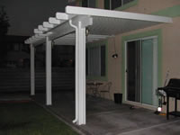 Alumawood Open Lattice Laguna and Solid Newport Solid Combination Patio Covers.