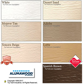 Alumawood Paint Colors, White, Desert Sand, Mojave Tan, Adobe, Sonora Beige, Latte and Spanish Brown.