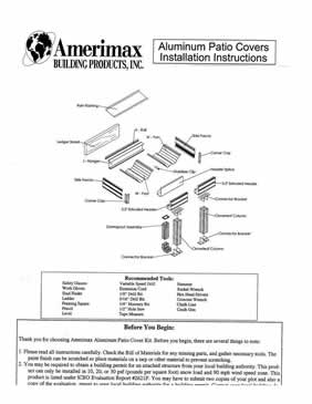 Amerimax Instructions for Traditional Aluminum Patio Covers