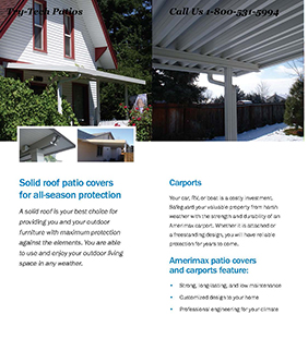 Traditional Classic W Roof Pan Patio Cover and Carport Brochure