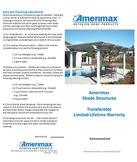 Amerimax Warranty for Alumawood Patio Covers, Alumawood Pergola Lattice Covers and Traditional W Patio Cover and Carports.